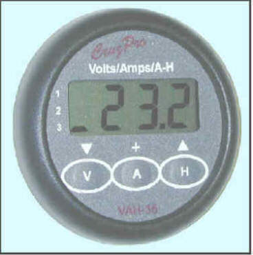 VAH35 Thee Bank Volts/Amps/Amp-Hour 		Monitor